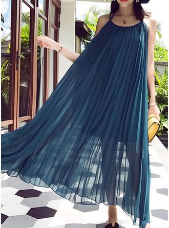 Chiffon With Stitching Midi Dress