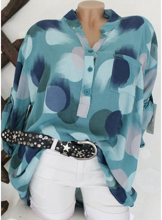 Geometric Print V neck Long Sleeves Button Up Shirt Blouses