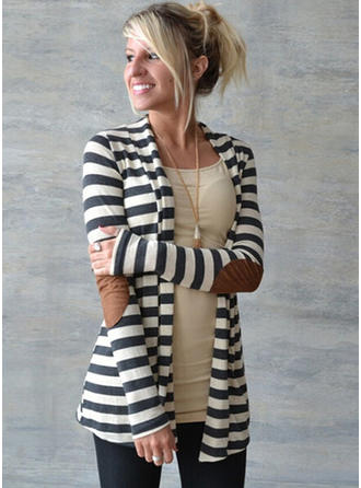 Polyester Long Sleeves Striped Blend Coats