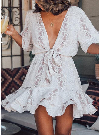 Animal Print 1/2 Sleeves/Flare Sleeves A-line Above Knee Casual/Elegant Dresses