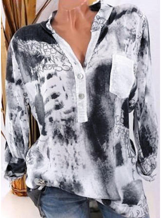 Cotton V Neck Print Long Sleeves Casual Blouses