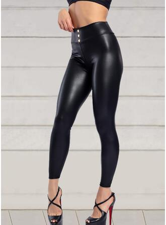 Solid Plus Size Cropped Sexy Leather Leggings
