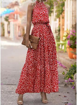 Print Sleeveless A-line Casual/Elegant Maxi Dresses