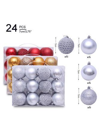 """boldog Karácsonyt 2.75"""" 24 PCS PVC Karácsonyi dekoráció Labda (24-es készlet)"""