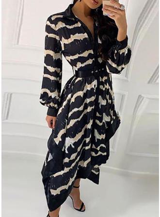 Animal Print Long Sleeves A-line Midi Casual Dresses