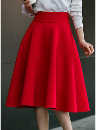 Cotton Plain Knee Length A-Line Skirts