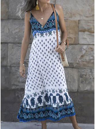 Print Sleeveless Shift Casual/Boho/Vacation Midi Dresses