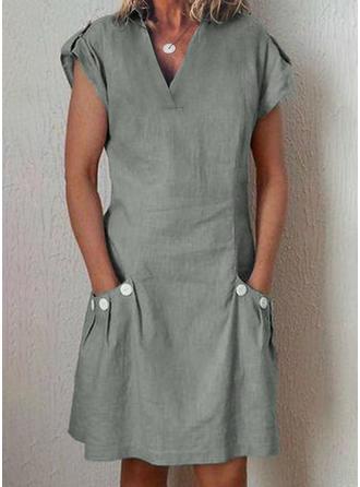 Couleur Unie Manches Courtes Trapèze Longueur Genou Petites Robes Noires/Décontractée Robes
