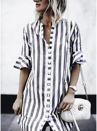 Striped Stand collar Above Knee Shift Dress