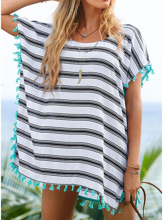 Stripe Tassels Round Neck Attractive Casual Cover-ups Swimsuits