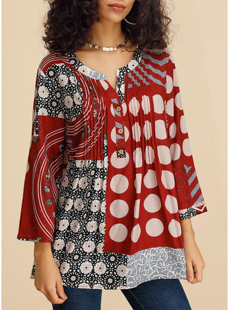 Print Patchwork V-Neck 3/4 Sleeves Button Up Casual Blouses
