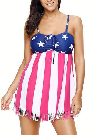 Flag Strap Tankini Swimsuit