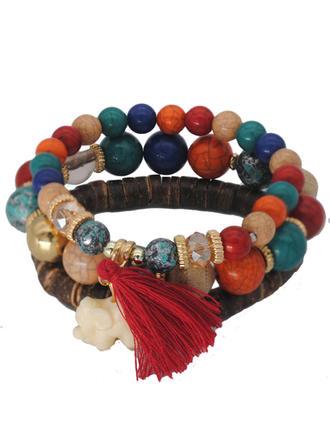 Chic Legering Imitation Turquoise Verzilverd Houten Kralen Dames Fashion Armbanden