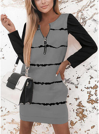 Minta/Χρώμα μπλοκ Hosszú ujjú Shift Térd feletti Ανέμελος Tunika φορέματα