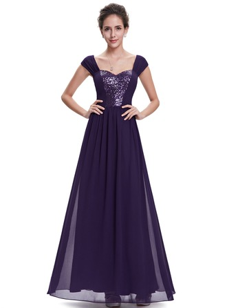 Sequins Square Neck Maxi A-line Dress