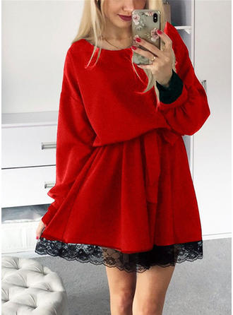 Lace/Solid Long Sleeves A-line Knee Length Casual Dresses