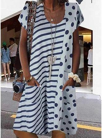 Print/PolkaDot/Striped Short Sleeves Shift Knee Length Casual/Vacation Dresses