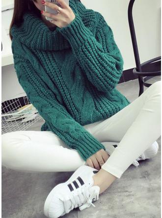 Mieszanki bawełniane Golf Jednolity kolor Swetry