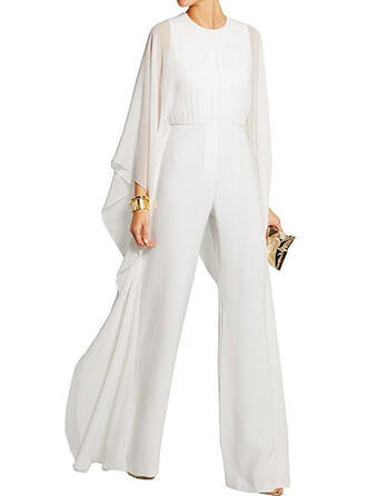 Solid Round Neck Long Sleeves Elegant Party Jumpsuit