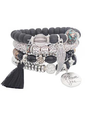 Schöne Legierung Versilbert Acryl Holzperlen Damen Mode Armbänder