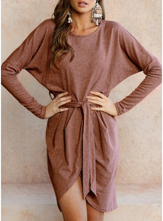 Solid Slit Round Neck Asymmetrical Bodycon Dress