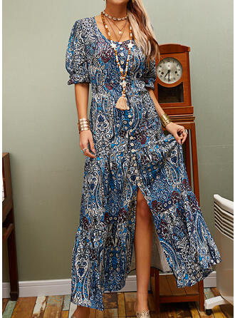 Print/Floral 3/4 Sleeves Shift Casual/Boho/Vacation Maxi Dresses