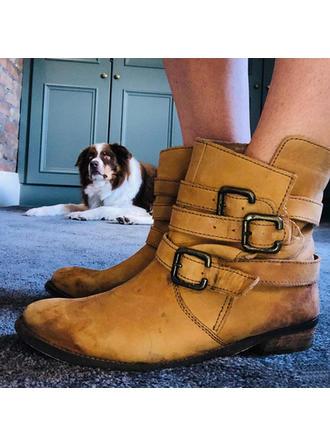 Femmes PU Talon bottier Martin bottes avec Boucle chaussures