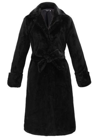 Faux Fur Long Sleeves Plain Wool Coats