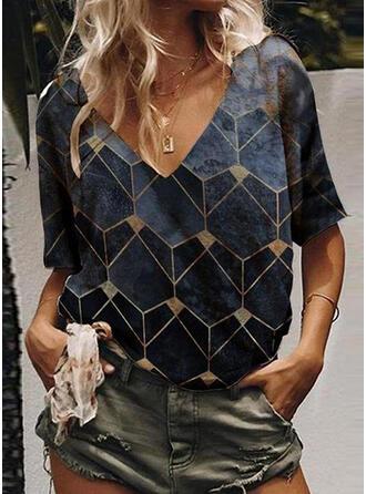 Geometric Print V-Neck 1/2 Sleeves Casual T-shirts