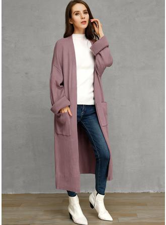 Pamuk Uzun kollu Sade Geniş Waisted Coats