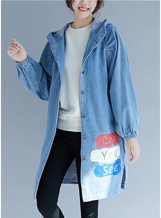 Dżinsowa Długie rękawy Jeans Płaszcze