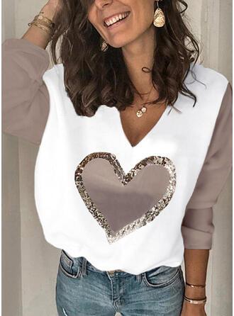 Color Block Heart V-Neck Long Sleeves T-shirts