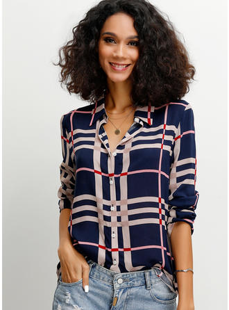 Stampa Risvolto Maniche a 3/4 Bottone Casuale Shirt and Blouses