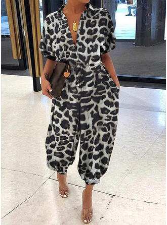 Print Animal V-Neck Short Sleeves Casual Jumpsuit