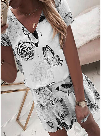 Print/Floral Short Sleeves Sheath Above Knee Casual/Elegant Dresses