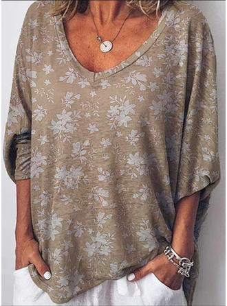 Print Floral V-neck 3/4 Sleeves Casual Knit T-shirts