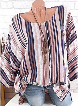 Striped Round Neck Long Sleeves Casual Elegant Blouses