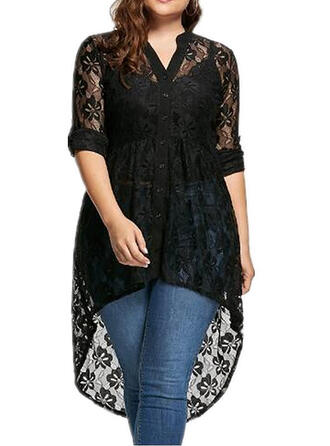 Lace/Solid 3/4 Sleeves Shift Asymmetrical Casual/Elegant/Plus Size Dresses