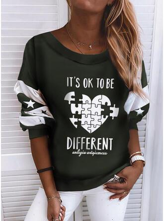 Print Color Block Figur Hjerte rund hals Lange ærmer Sweatshirts