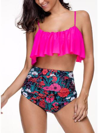 Floral High Waist Strap Bikini Swimsuit