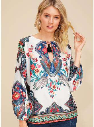 Print Floral Round Neck Puff Sleeves Long Sleeves Casual Blouses