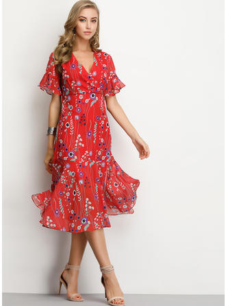 Print/Floral Short Sleeves A-line Midi Boho/Vacation Dresses