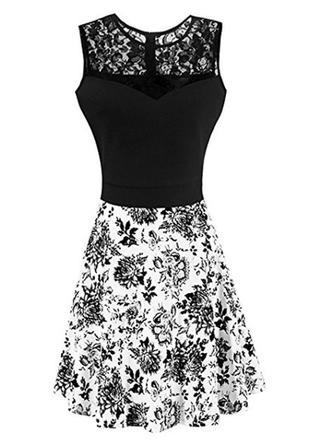 Lace Print Floral Round Neck Knee Length A-line Dress