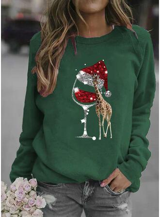 Dyr pailletter rund hals Lange ærmer Jule sweatshirt