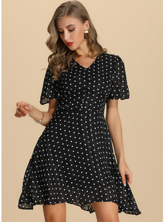 PolkaDot Short Sleeves A-line Above Knee Casual/Elegant Dresses