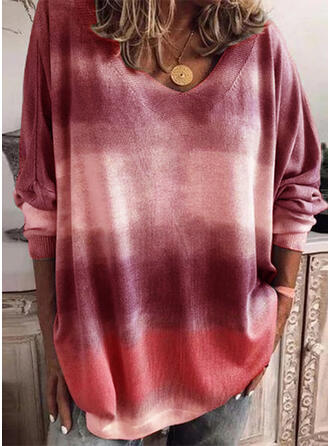 Tie Dye V-Neck Oversized Casual Sweaters