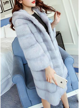 Tekoturkki Pitkähihaiset Solid Color Tekoturkis takki
