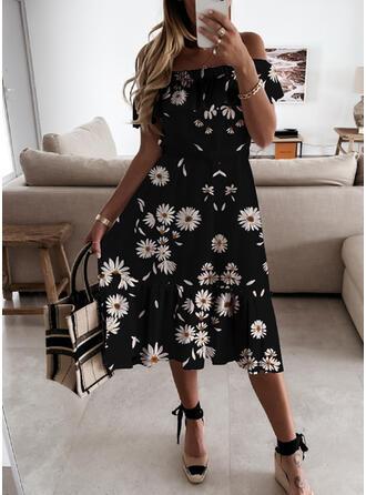 印刷/フローラル 半袖 フリルスリーブ Aラインワンピース 休暇 ミディ ドレス