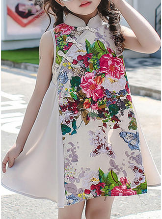 Girls Stand-up Collar Floral Print Casual Cute Dress