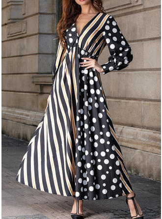 PolkaDot/Striped/Patchwork Long Sleeves A-line Maxi Casual Dresses